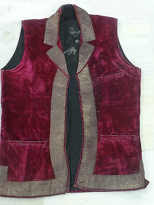 Antique Real Silver Zari Child Waist Coat Magenta Velvet