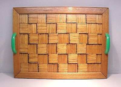 Vintage matchstick serving tray parquet green handles deco glass top