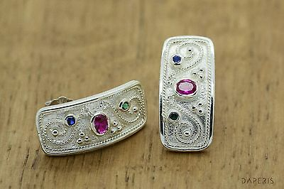 Byzantine Earrings Rubies Emeralds Sapphires 925 Sterling Silver GREEK ART