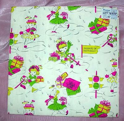 2 Unused Sheets Vtg 1940's Dennison Gift Wrap Wrapping Paper, Birthday, Shower