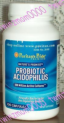 Probiotic Acidophilus 100 Million Active Cultures 100 CAPSULES Puritan's Pride