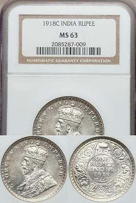 India, British India, 1918(c) Silver Rupee, George V - NGC MS63