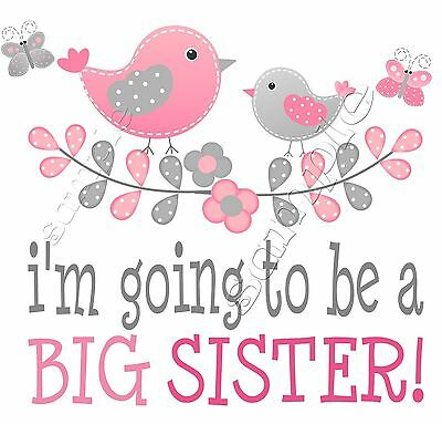 Iron On Transfer  I'M Going To Be A Big Sister Maternity Bird Butterfly Flower