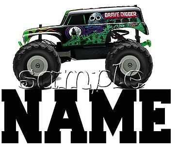 Iron On Transfer Personalised  Monster Truck Grave Digger Ghost Skull  14X12Cm