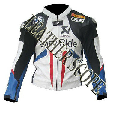 Leon Haslam BMW Motorbike, Motorcycle Racing Leather Jacket ( 15% Off )