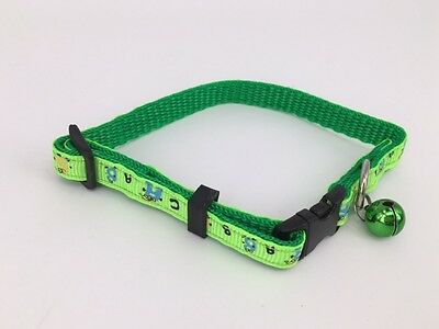 Green Colour Cat collar with removable bell
