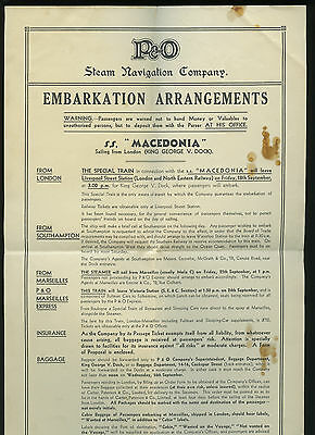 1900-20s SS Macedonia Embarkation Arrangment Notice - P&O Steam Navigation Co.