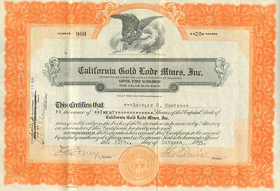 California Gold Lode Mines, Inc.    1935 stock certificate