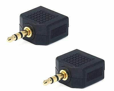 2x Stereo 3.5mm 1 Male Plug to 2 Female Jack Audio Y Splitter Headphone Adapter