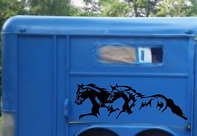 22x65 Running Horses & Stripe Stickers for Horse Trailer Truck Vinyl Decals