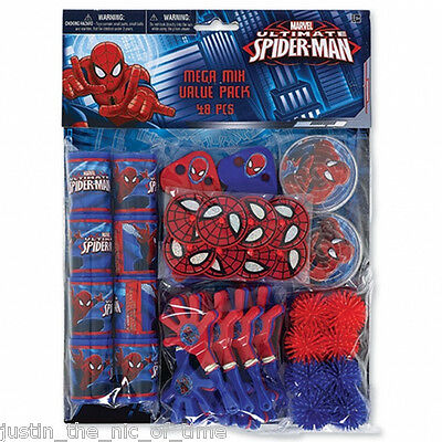 ULTIMATE SPIDERMAN Boys Birthday Party Bag Fillers Puzzles & Favours 48Pc