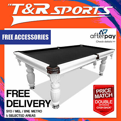 New! 8Ft White Slate  Pool/ Snooker / Billiard Table Black Felt