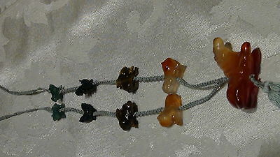 EARLY 20c CHINESE PENDANT W/9 CARVED JADE,TIGER EYE,CARNELIAN HORSE,LION,RABBITS