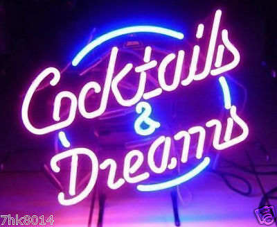 """New Cocktails And Dreams Neon Sign Store Display Beer Bar Sign Real Neon 17""""x14"""""""