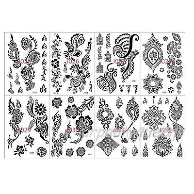 Lace Flower Pattern Black Henna Tattoo Waterproof Temporary Body Tattoo Stickers