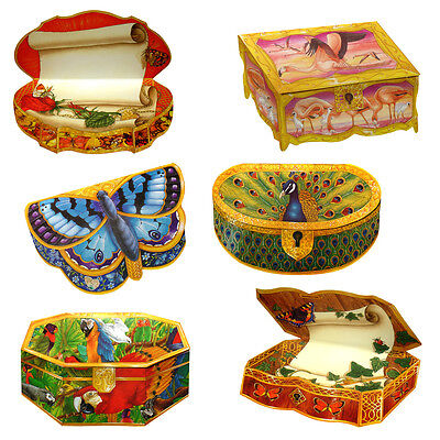 36 Butterfly and Exotic Birds Trompe-l'oeil Box Greeting Cards EC0057