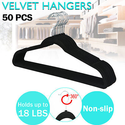 50 PCS Coat Hangers Clothes Pants Closet Velvet Nonslip Space Saving Thin Black