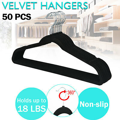 50 PCS Velvet Coat Hangers Clothes Pants Closet Nonslip Space Saving Thin Black