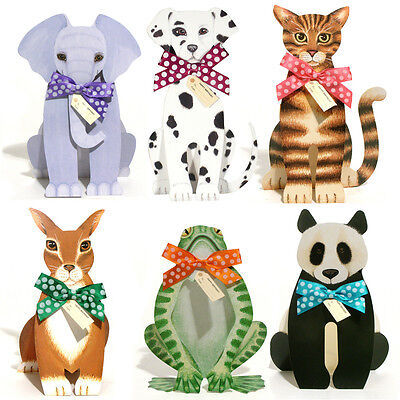 36 Elephant, Frog, Rabbit, Dalmatian, Panda & Tabby Cat 3D Birthday Cards EC0036
