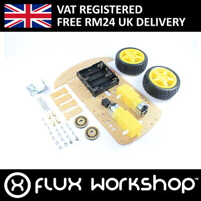 2 Wheel Robotic Car DIY Kit Line Following Frame Arduino Flux Workshop