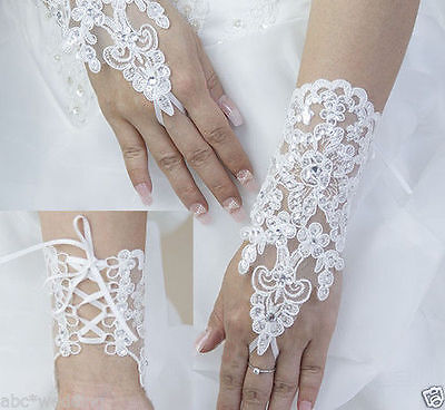 Short Wrist fingerless Lace Glove Bridal Wedding Prom Costume Evening gloves