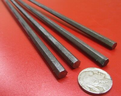 "1018 Carbon Steel Hex Rod 1/4"" Hex  x 3 Foot Length, 4 Units"