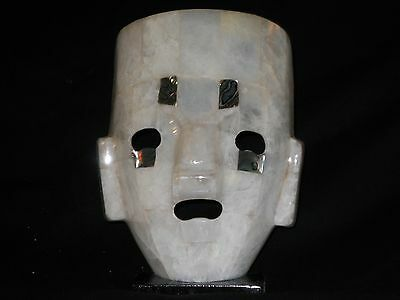 Large Decorative Mexican Mayan Art Mask Sculpture Abalone Turquoise, Jade,etc