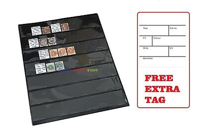 10 Stamp Album Stock Pages (7 Rows) Display Sheets - Black and Double Sided