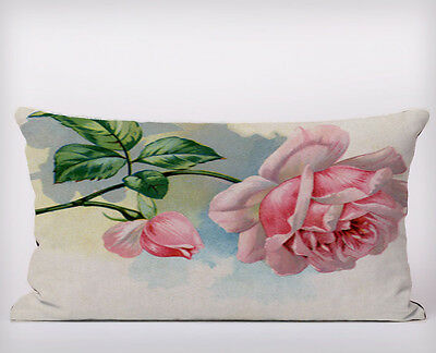 Pink English Rose - Long Cushion Covers Pillow Cases Home Decor or Inner