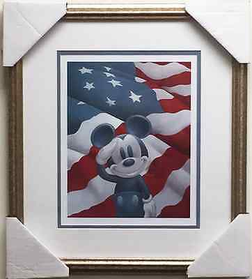 Disney MICKEY MOUSE SALUTES AMERICA Custom FRAMED art OUT OF PRINT