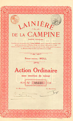 Campine Wool Company > 1925 Moll France certificate stock