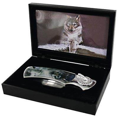 Wolf Art Decorative Unique Collectible Stainless Steel Display Knife w Case
