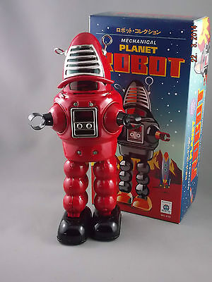 Wind Up Tin Toy - PLANET Robot - Large Red