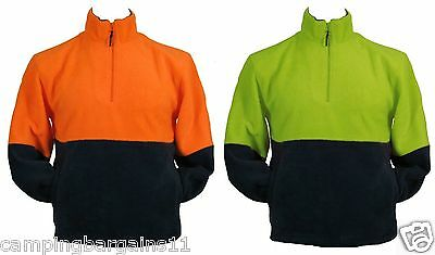 Polar Fleece Jacket Jumper Hi Vis Safety Work Wear 1/4 Zip Fluoro Green Orange