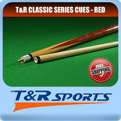 """1x T&R Classic Series Red Wooden 57"""" 2-Piece Pool Cue Billiard Free Delivery"""