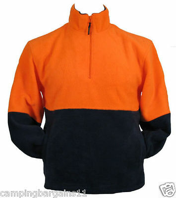 Hi Vis Safety Workwear Warm Fleece Jumper Jacket 1/4 Zip Tradie Fluoro Orange