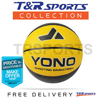 Size 7 Yono Black Leather Basketball Game Ball Indoor Outdoor Free Delivery