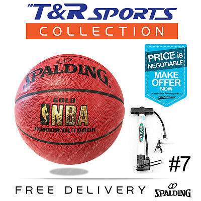Size 7 Spalding Gold NBA Basketball Ball + Portable Pump Free Delivery