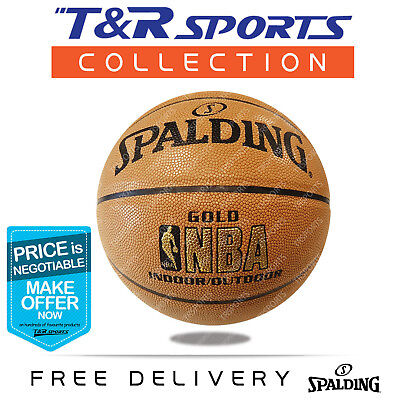 Size 7 Spalding Red Blue Man Leather NBA Basketball Game Ball Indoor Outdoor