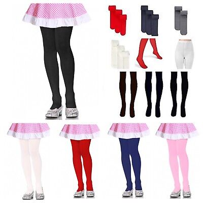 Girls Junior Kids Pantyhose Tights Stretch Winter Stocking  White Black XS - XL