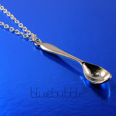 "Funky Vintage Spoon 30"" Long Necklace Alice Wonderland Charm Cute Hippy Festival"