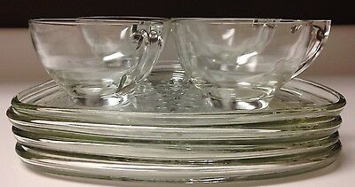 Four Piece Crystal Luncheon Snowflake Set Plates Cups Vintage Collectable Rare