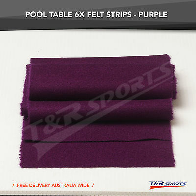 New! 6 X Thick Purple Double-Sided Wool Pool Table Felt Strips For Cushion