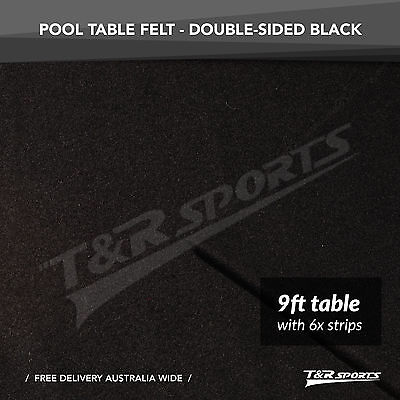Black Double-sided Wool Pool Snooker Table Top Cloth Felt + 6x Strips for 9''