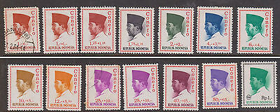 (LX65) 1964/66 Indonesia 2part sets 28 stamps SUKANO