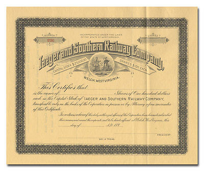 Iager and Southern Railway Company Stock Certificate