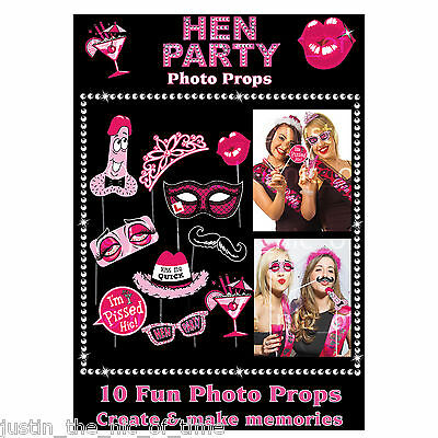 Hen Night Party Bride To Be Kiss Me Quick Photo Game Props x10