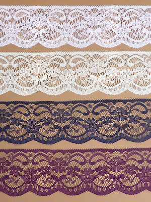 """NOTTINGHAM LACE TRIMMING 2.25""""/5.5cm White Black Ivory Navy Pink Red Purple"""