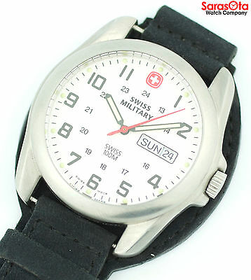 Swiss Military 096.1009 Day/Date Stainless Steel Leather Key Chain Men's Watch