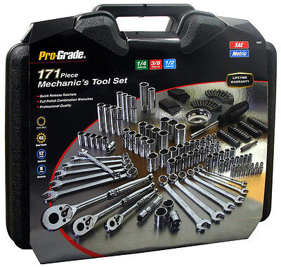 171pc Mechanic Mixed Tool Set, Wrenches, Sockets, Ratchets, Driver 1/4, 3/8, 1/2